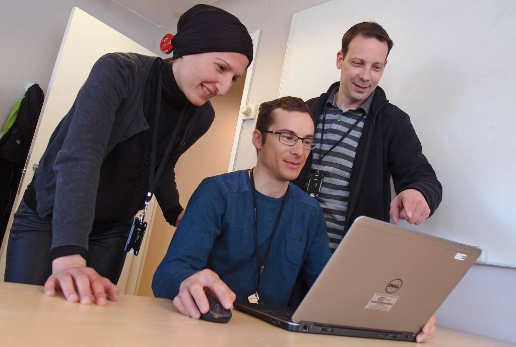 Key software developers Afaf Saai, left, Térence Coudert and Stéphane Dumoulin continually upgrade the SIMLab Toolbox. Photo: Albert H. Collett.