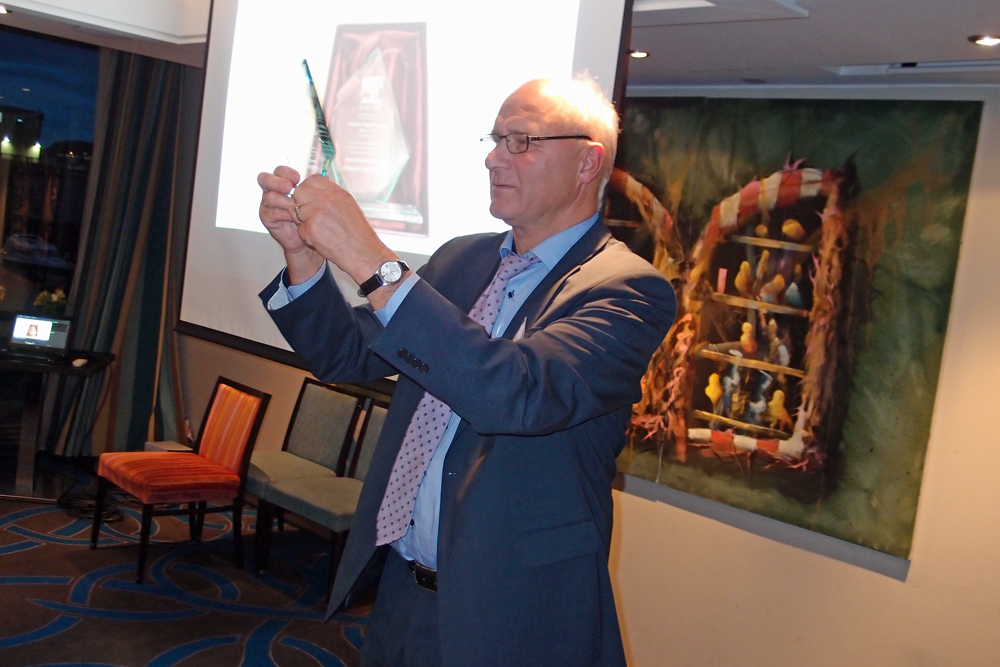 At the DYMAT banquet, SFI CASA Director Magnus Langseth received praise for his ten years as Editor-in-Chief of the International Journal of Impact Engineering. Photo: Albert H. Collett.
