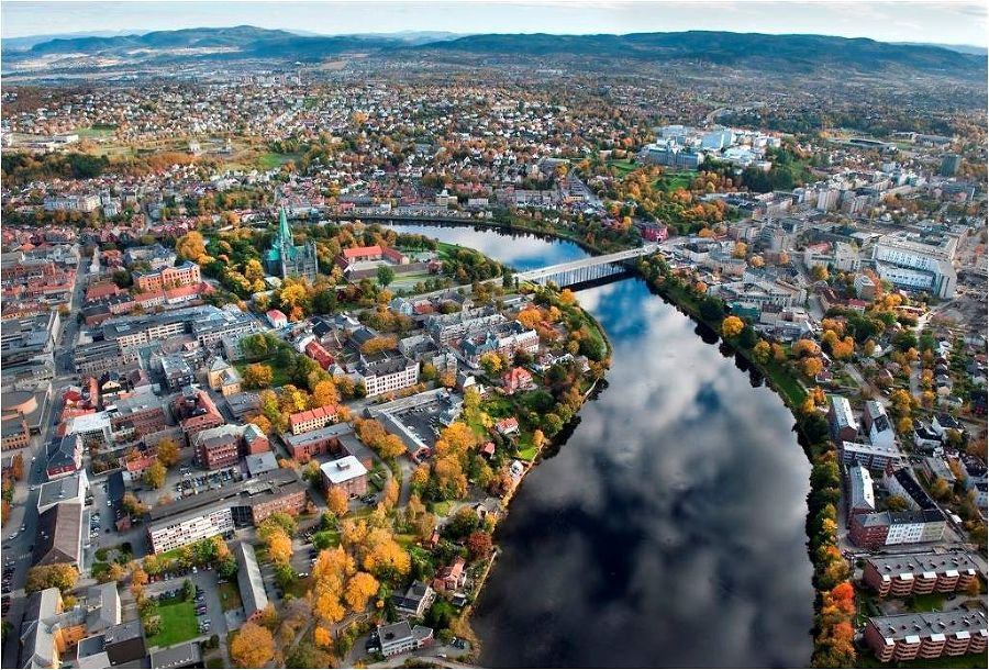 City of Trondheim seen from air in autumn