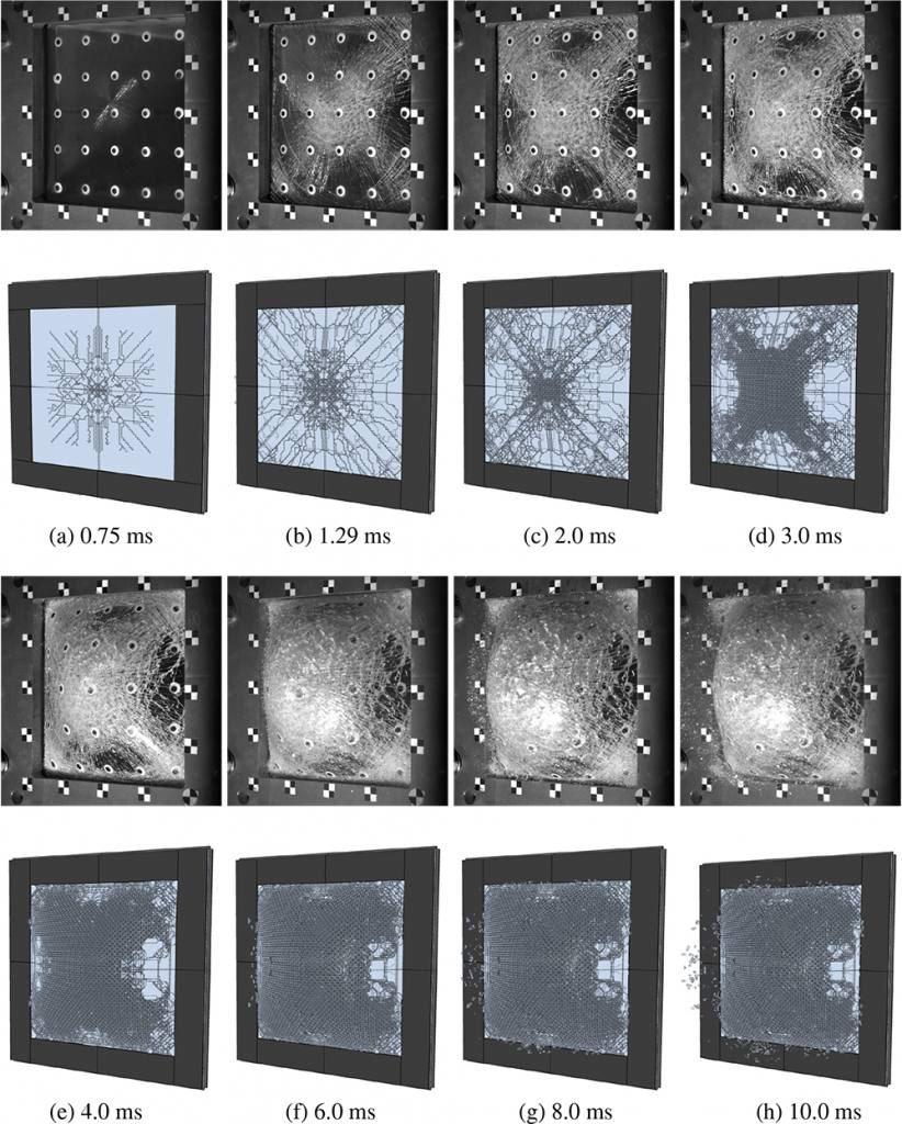 Monolitic glass exposed to blast loading, finite element simulations versus experiments