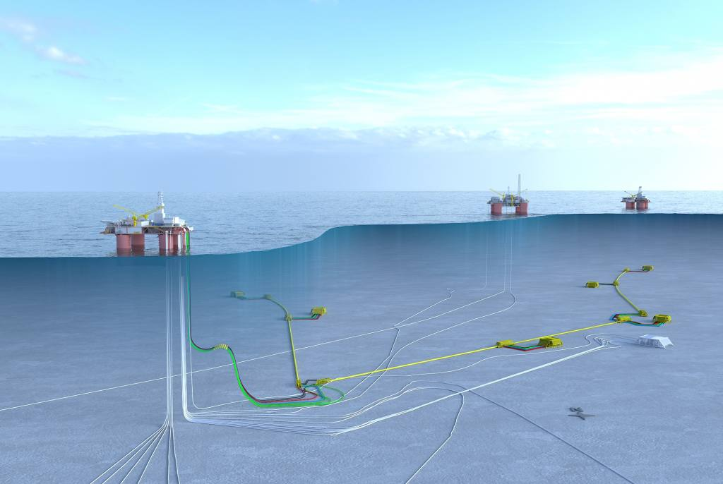 Illustration Equinor platform with pipelines