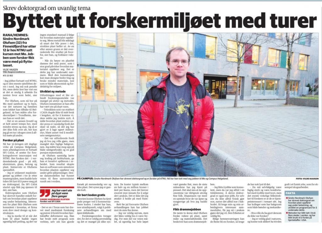 Screenshot from Newspaper article
