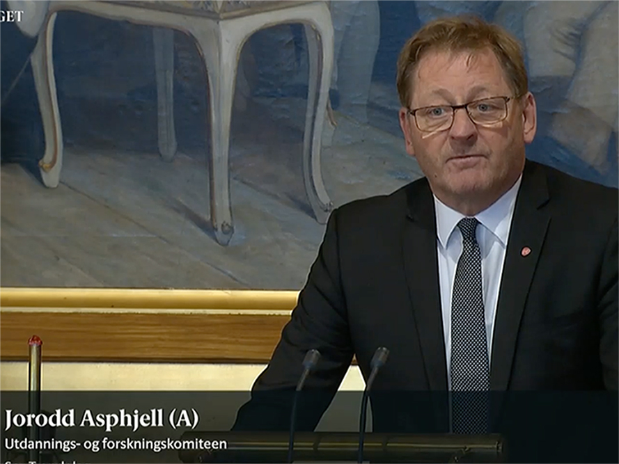 A representative speeking in the Norwegian Parliament