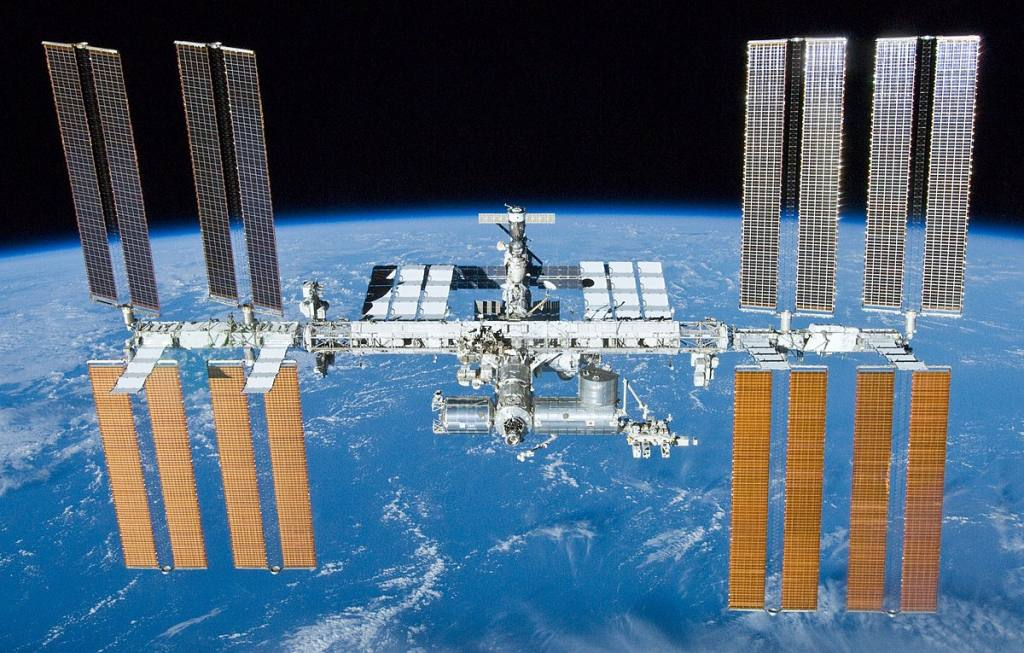 The International Space Station, orbiting 408 km above the earth in Low Earth Orbit.