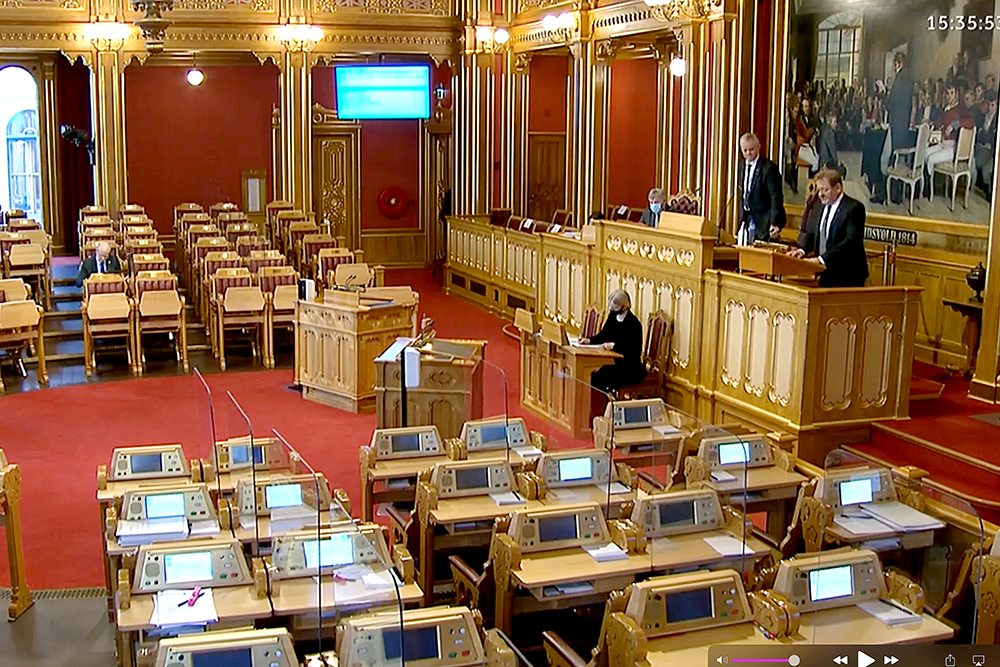 The hall of the Norwegian Parliament