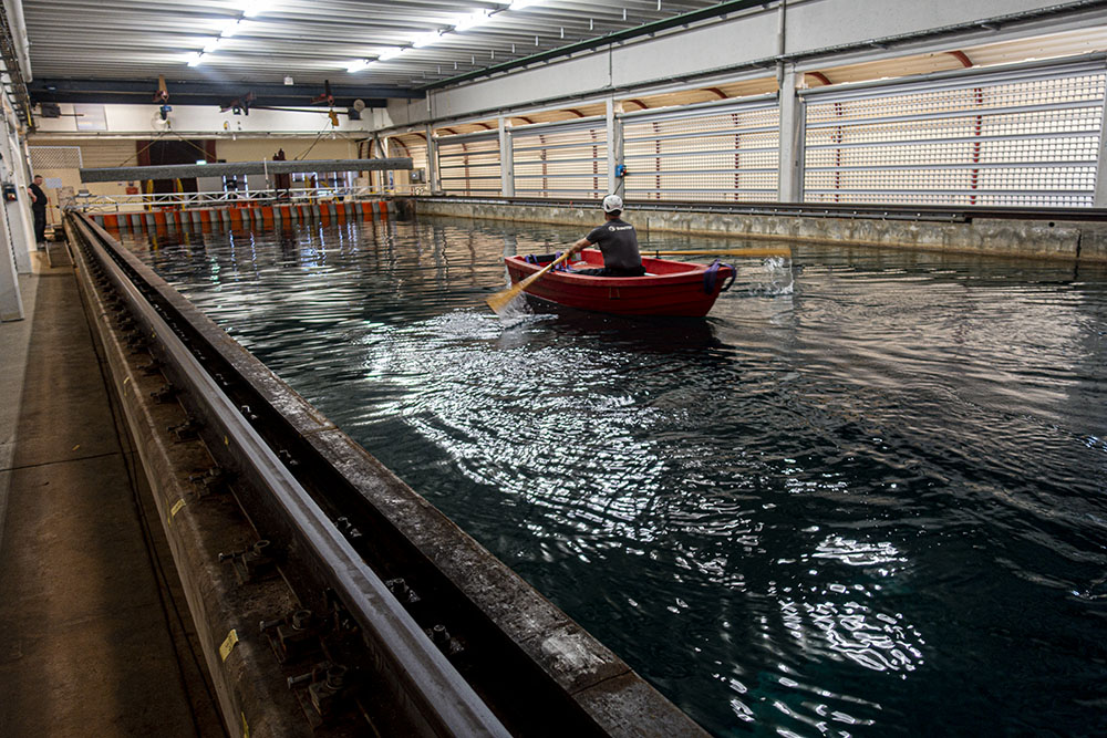man in a boat in a marine lab